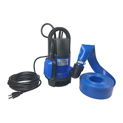 Hot Tub and Pool Submersible, Portable, Drain Water Pump Kit with 25 Foot Hose 2000 Gallons Per Hour