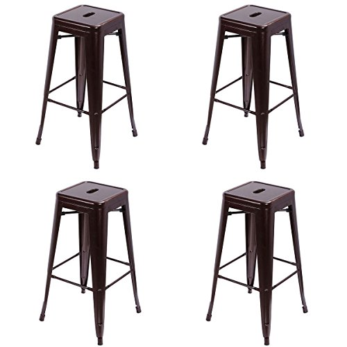 30' Iron Swivel Bar Stools (Barstool, GentleShower 30'' Inches Set of 4 Height Square Metal Steel Stackable Backless Tolix Style Bar Stools, Retro Bistro Dining Cafe Side Stool Chair Copper)
