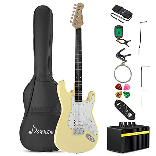 Donner DST-100W Full-Size 39 Inch Electric Guitar White with Amplifier, Bag, Capo, Strap, String, Tuner, Cable and Pick