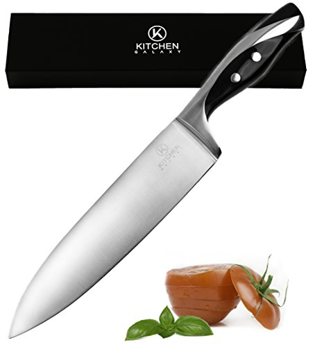 Chef Knife by Kitchen Galaxy 8 Inch Stainless Steel Blade Very Sharp A Well Balanced Comfortable Handle Multipurpose Top Kitchen Knife for Cutting Slicing Chopping Dicing Mincing