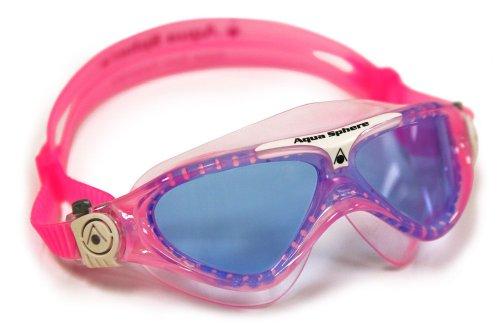 (Aqua Sphere Vista Junior Swim Mask with Blue Lens, Pink/White)