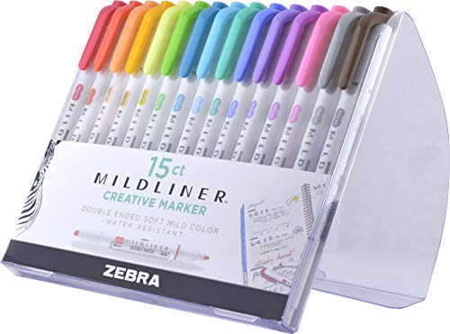 Zebra Pen Mildliner, Double Ended Highlighter, Broad and Fine Tips, Assorted colors, 15-Count ()