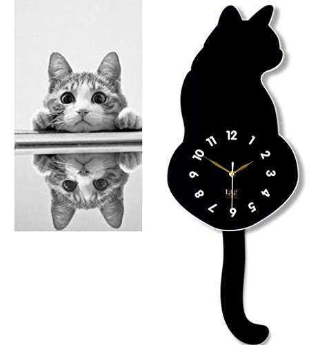 Morrivoe Home Decor Creative Black Wall Clocks Cartoon Cute Cat Acrylic Wall Clock with Swinging Tails DIY Decoration