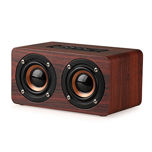 Wood Bluetooth Speaker WOPOW 2200mAh Retro Bluetooth Speaker with HIFI Stereo Sound and Dual Passive Subwoofers (Red)