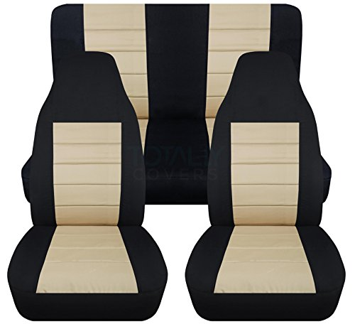 2-Tone Car Seat Covers: Black and Sand - Universal Fit - Full Set - Front Buckets & Rear Bench - Option for Airbag/Seat Belt/Armrest/Release/Lever/Split ()