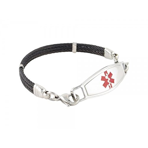 "N Style ID PRE-ENGRAVED ""Seizure Disorder"" Triple Skyway Medical alert bracelet - Red 8.75 by N-Style ID"