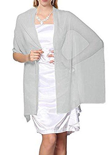 Sash Chiffon (Prom Queen Women's Soft Chiffon Sheer Evening Dress Shawl Scarves Silver)