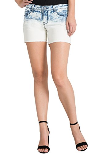 s Contemporary Women's Stretch Denim Dip Dyed Frayed Short Size 27 x 4Length (Dip Dyed Denim)