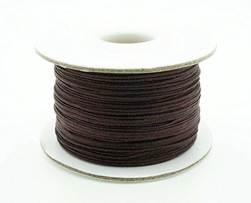 CHOCOLATE BROWN 0.8mm Chinese Knot Nylon Braided Cord Shamballa Macrame Beading Kumihimo String (50yards Spool)