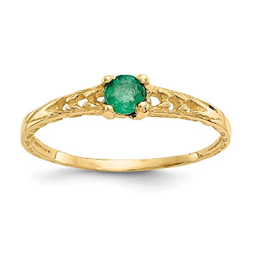 14k Yellow Gold 3mm Green Emerald Birthstone Baby Band Ring Size 3.00 May Fine Jewelry Gifts For Women For Her