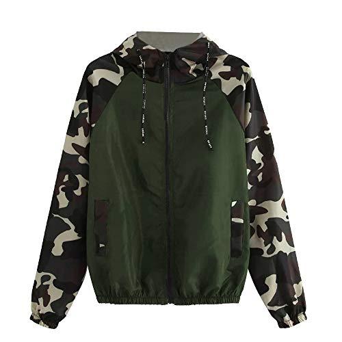 Faionny Womens Hoodies Camouflage Print Jacket Patchwork Sweatshirt Hooded Overcoat Blouse Long Sleeve Outwear Parka