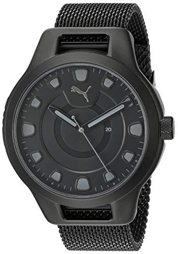 PUMA Men's Reset V1 Quartz Watch with Stainless Steel Mesh Strap, Black, 20.1 (Model: P5007) (Watches Puma Man)