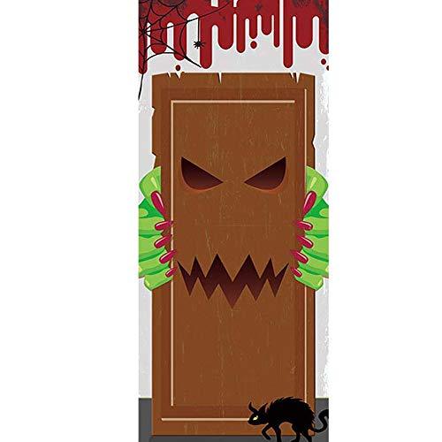 YJZ 3D Door Wall Mural Wallpaper Stickers Halloween Devil Self-Adhesive Vinyl Waterproof Art Door Renovation Decals