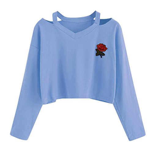 2018 Fashion Womens Long Sleeve Tops Sweatshirt Rose Print Causal Blouse (Glitter Print Logo Top)