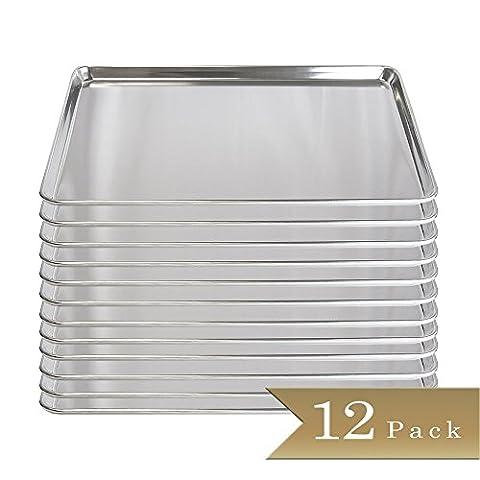 Set of 12 - TrueCraftware 18 Gauge Aluminium Commercial Baker's 2/3 Size Sheets / Baking Trays / Pan / 15 x - 2/3 Baking Pan