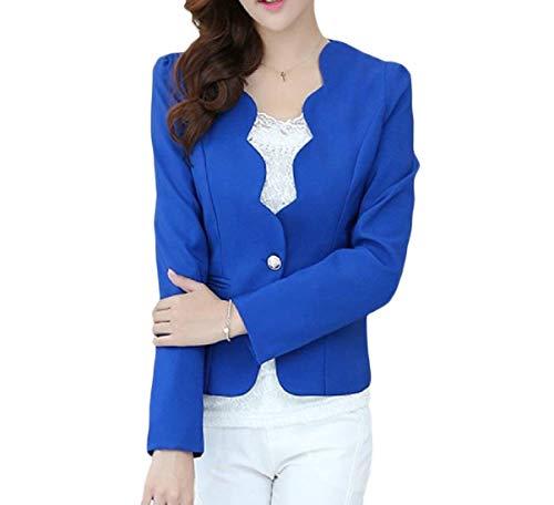 Giubotto Alta Manica Puro Anteriori Leisure Giacca Da Button Business Donna Di Lunga Suit Tasche Moda Blau Qualità Autunno Semplice Outerwear Colore Tailleur Glamorous zH00xS