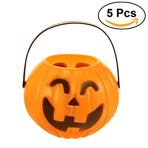 Treats Halloween Pail (LUOEM 5 Pack Halloween Pumpkin Candy Bucket Trick-or-treat Candy Holder - Size M (Random Type))