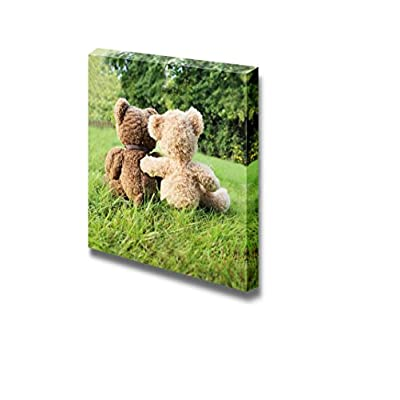 Canvas Prints Wall Art - Two Teddy Bears in Love Sitting on Grass - 16
