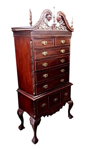 D-ART COLLECTION England High Boy 9 Drawer Chest in Mahogany Wood (England Lingerie)