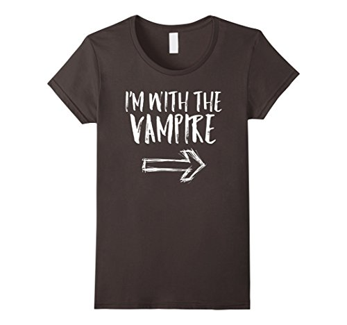 Womens I'm With The Vampire Halloween Last Minute Costume Shirt XL Asphalt