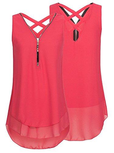 Tank Zip Back (iChunhua Women's V-Neck Blouses Sleeveless Casual Criss Cross Chiffon Tunic Shirt with Zip up(XL,Burgundy))