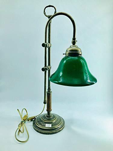 Lámpara de mesa latón escritorio clásico Studio cristal azul ...