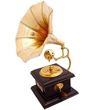 Buycrafty Golden Brown Brass Square Gramophone Home Decor Showpiece