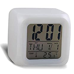 Sinfu® Alarm Clock For 1 PC Digital Alarm Thermometer Night Glowing Cube 7 Colors Clock LED Change Fashion (White, 7.5 x 7.5 x 7.5cm(LxWxH))