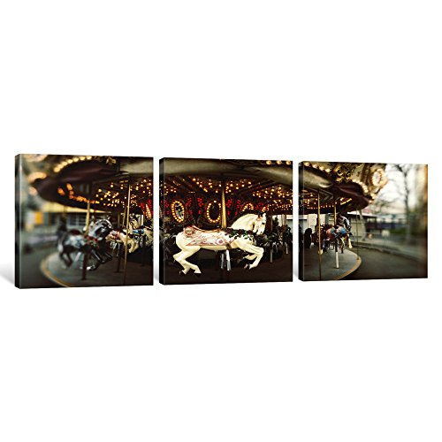 iCanvasART 3 Piece Carousel Horses in an Amusement Park, Seattle Center, Queen Anne Hill, Seattle, Washington State, USA Canvas Print by Panoramic Images, 12 x 36 x 0.75-Inch