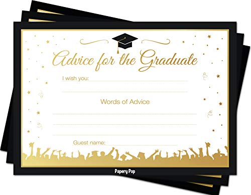 2019 Graduation Advice Cards for The Graduate (50 Pack) - Graduation Party Games Ideas Activities Supplies - Grad Celebration - High School or College -