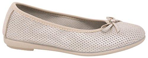Vulladi Spain Ballet Flat Leather CAN Beige (Little Girl & Youth Girl) (2 US) -