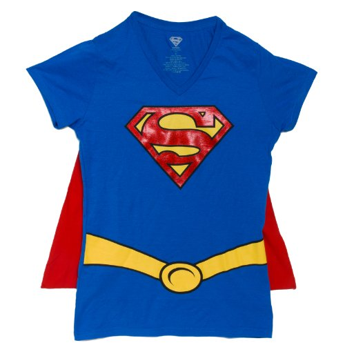 Supergirl Juniors Royal V-neck Cape Tee (Medium) ()
