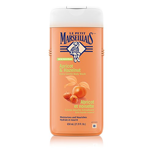 Le Petit Marseillais Extra Gentle Shower Gel with Apricot Hazelnut, Moisturizing Nourishing French Body Wash for pH Neutral for Skin, 21.9 fl. oz Pack of 3