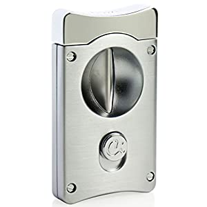 Caseti Caseti Wedge V Cigar Cutter-Satin Chrome,, Silver