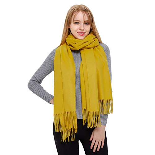 (Cashmere Scarf and Shawl, Vimate Novelty Cashmere Pashmina Scarf and Wraps for Women/Girls/Men (Mustard))