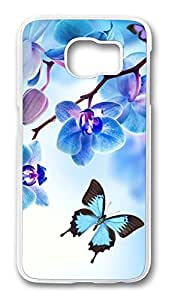 Brian114 Case, S6 Case, Samsung Galaxy S6 Case Cover, Butterfly Orchid And Butterfly 2 Retro Protective Hard PC Back Case for S6 ( white )