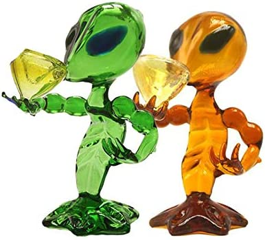 Yellow 15.5 cm Highter Cool Glass JINNUO Alien Glass Pipe Recycler Dab Rig Pipe Pipe Hand Pipes Glass Oil Rig Dab Peace Bong Aprox