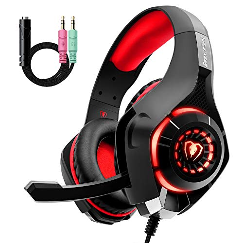 Gaming Headset for PS4 Xbox One, Comfort Noise Reduction Crystal Clarity 3.5mm LED Professional Headphone with Mic for…