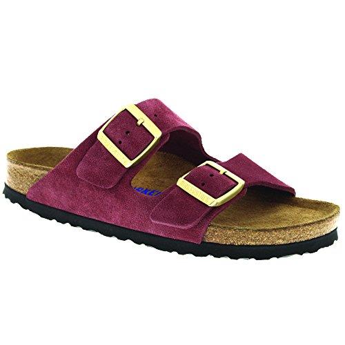 Birkenstock Unisex Arizona Bordeaux Soft Footbed Suede Sandals - 8-8.5 2A(N) US Women