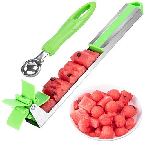 GARUNK Stainless Steel Watermelon Slicer, Watermelon Cubes Windmill Cutter, Melon Knife Corer Fruit Vegetable Tools Kitchen Gadgets
