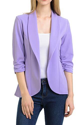 MINEFREE Women's 3/4 Ruched Sleeve Lightweight Work Office Blazer Jacket Lilac 3XL ()