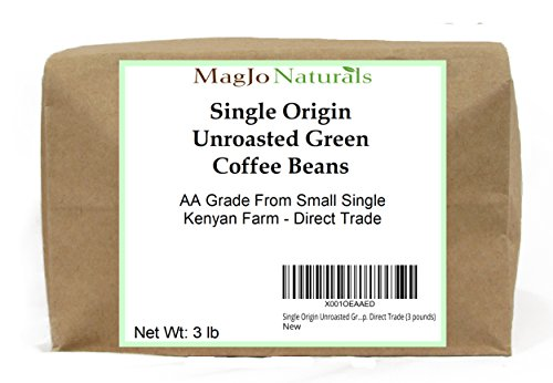 Single Origin Unroasted Green Coffee Beans, AA Grade From Small Regional Kenyan Coffee Farmer Co-Op. Direct Trade (3 pounds)