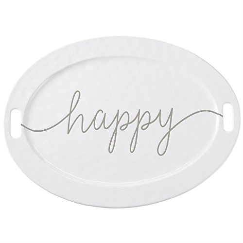 Mud Pie 15 inches x 20 inches Large Happy Ceramic Serving Platter Kitcheware