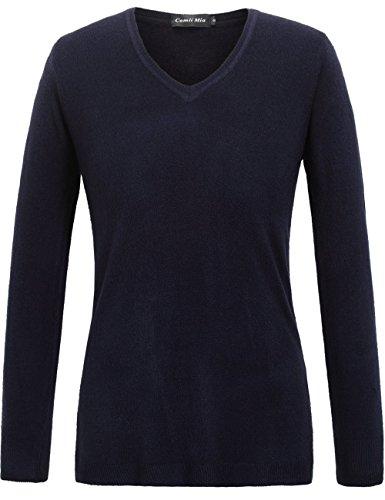 Camii Mia Women's V Neck Long Sleeve Pullover Sweater (Medium, Navy)