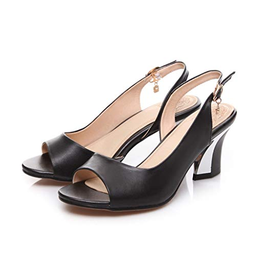 Women's Peep Toe Slingback Sandals Buckle Slip On Pump Comfortable Mid Chunky Block Heel Dress Shoes - Knotted Pumps Peep Toe