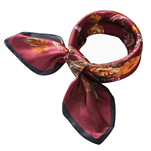RIIQIICHY Women's 27.15'' Silk Satin Square Floral Print Hair Head Scarf Neckerchief