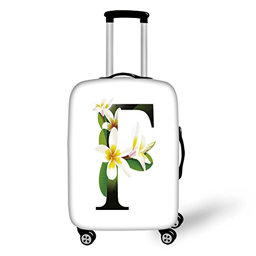 Travel Luggage Cover Suitcase Protector Letter F Frangipani Lively Green Leaves Vibrant Color Floral Letter F Alphabet Art Yellow Green Black For Travel