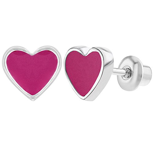 Rhodium Plated Hot Pink Enamel Heart Screw Back Earrings for Girls