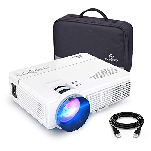 "VANKYO Leisure 3 Mini Projector, 1080P and 170"" Display Supported, 3600L Portable Movie Projector with 40,000 Hrs LED Lamp Life, Compatible with TV Stick, PS4, HDMI, VGA, TF, AV and USB"