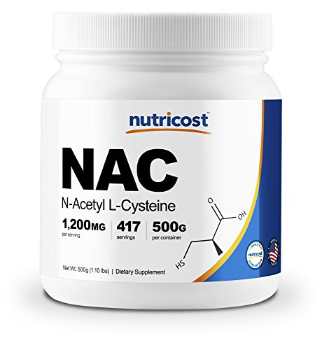 Nutricost N-Acetyl L-Cysteine NAC Powder, 500 Grams – Vegan NAC, Non-GMO, Made in The USA, 417 Servings